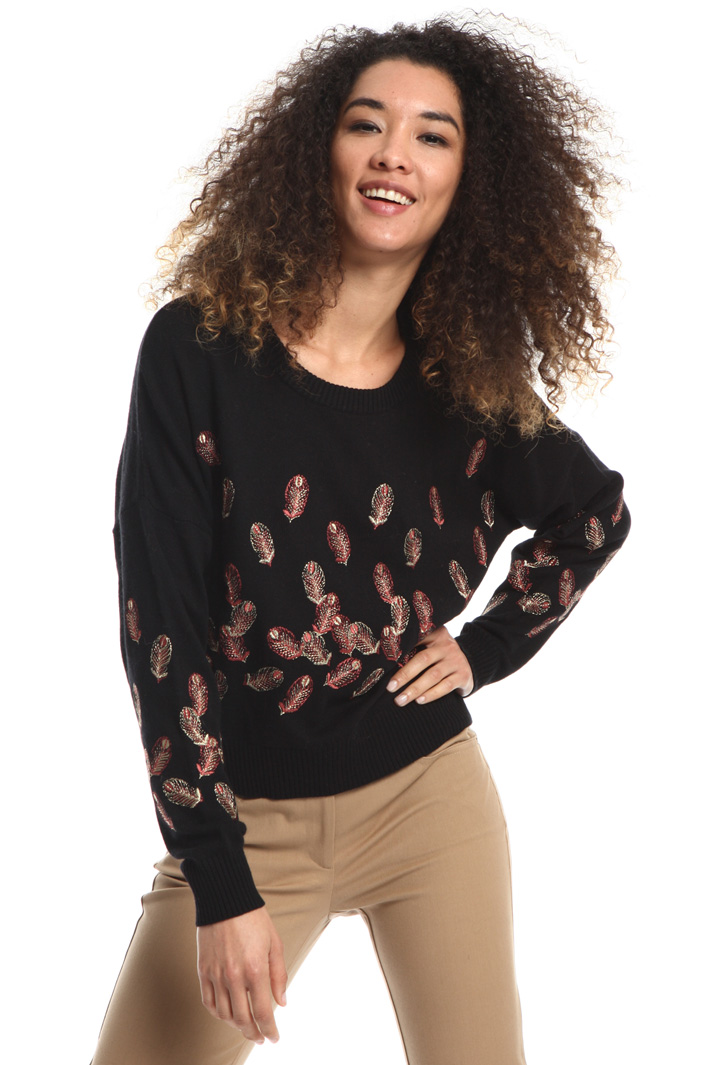 Embroidered boxy fit sweater Intrend