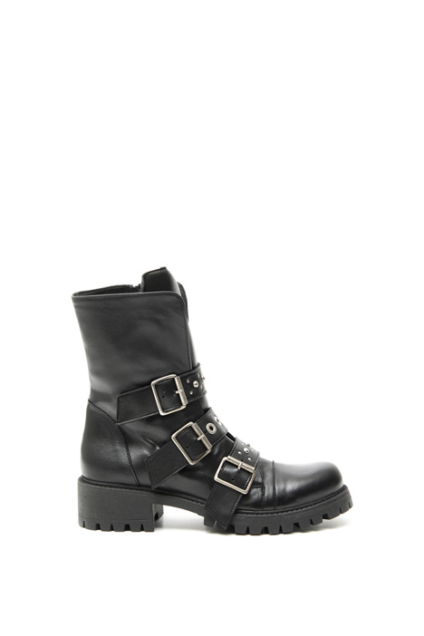 Studded leather biker boots Intrend