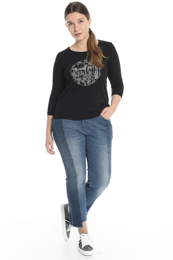 Jersey T-shirt with rhinestones Intrend