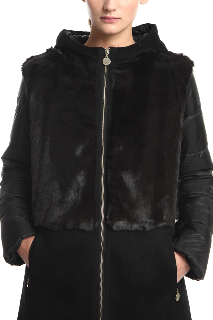 Mixed fabric puffer jacket Intrend