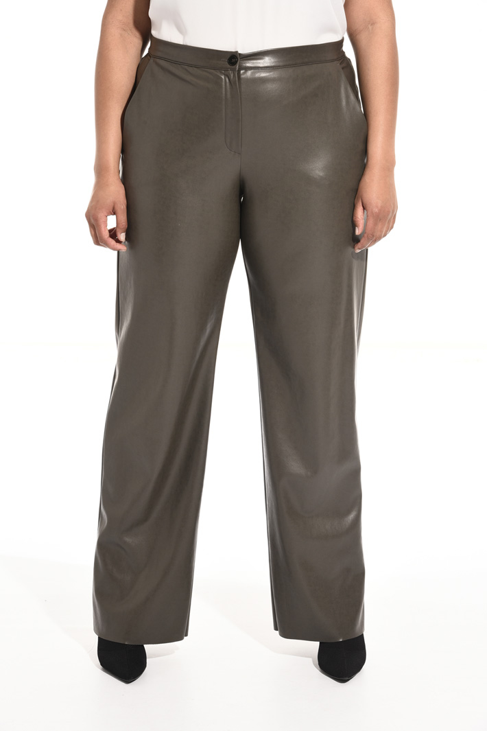 Coated-effect trousers Intrend