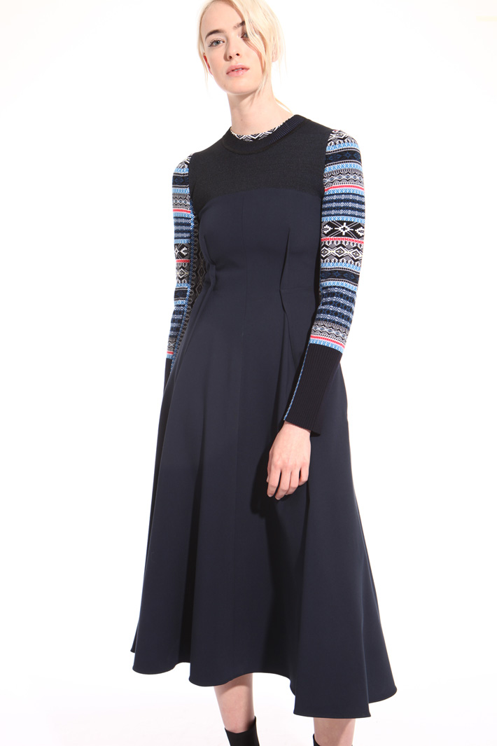 Twill and knit dress Intrend