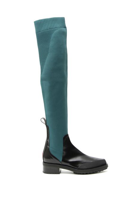 Stivali con gambale in maglia Intrend