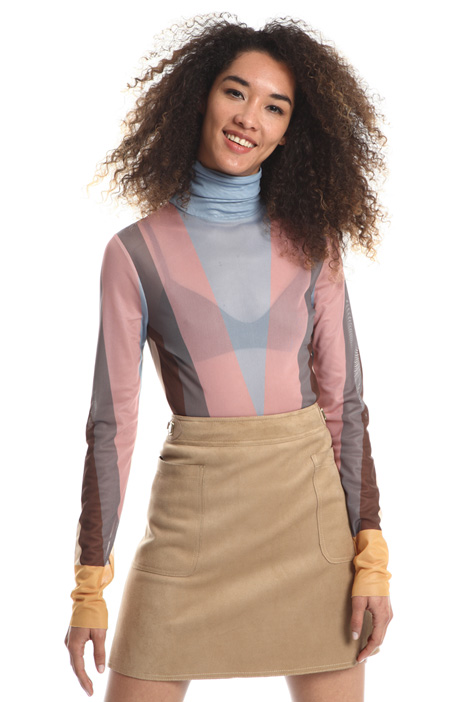 Printed tulle turtleneck top Intrend