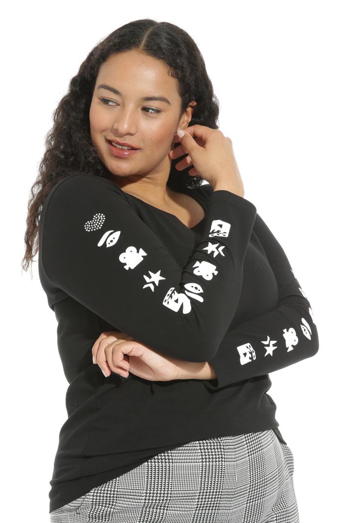 Printed rhinestone T-shirt Intrend