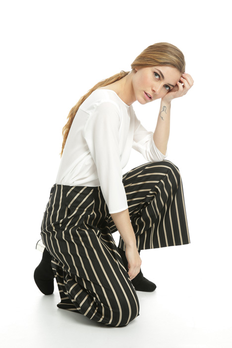 Wide yarn-dyed trousers  Intrend