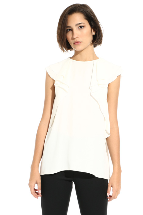 Silk blend top with ruffles Intrend