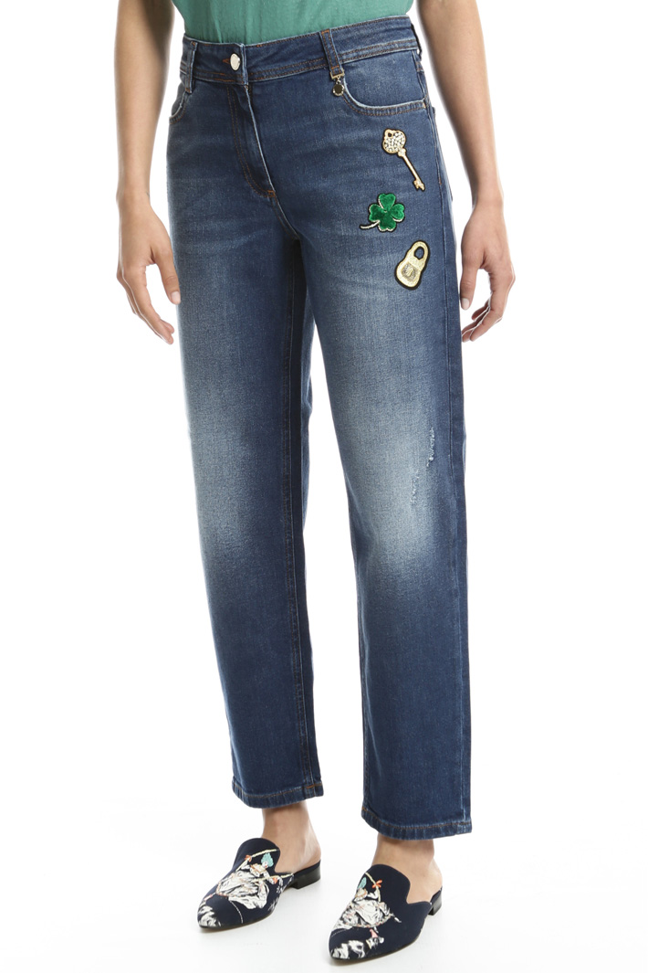 Decorative patch jeans Intrend