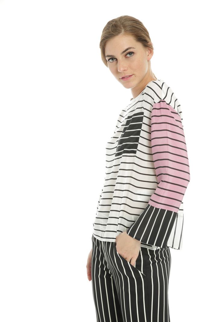 Pure silk striped blouse  Intrend