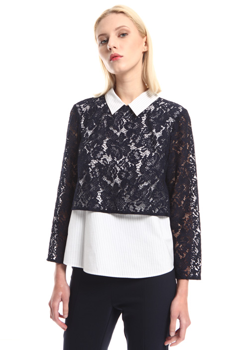 Lace and poplin shirt Intrend