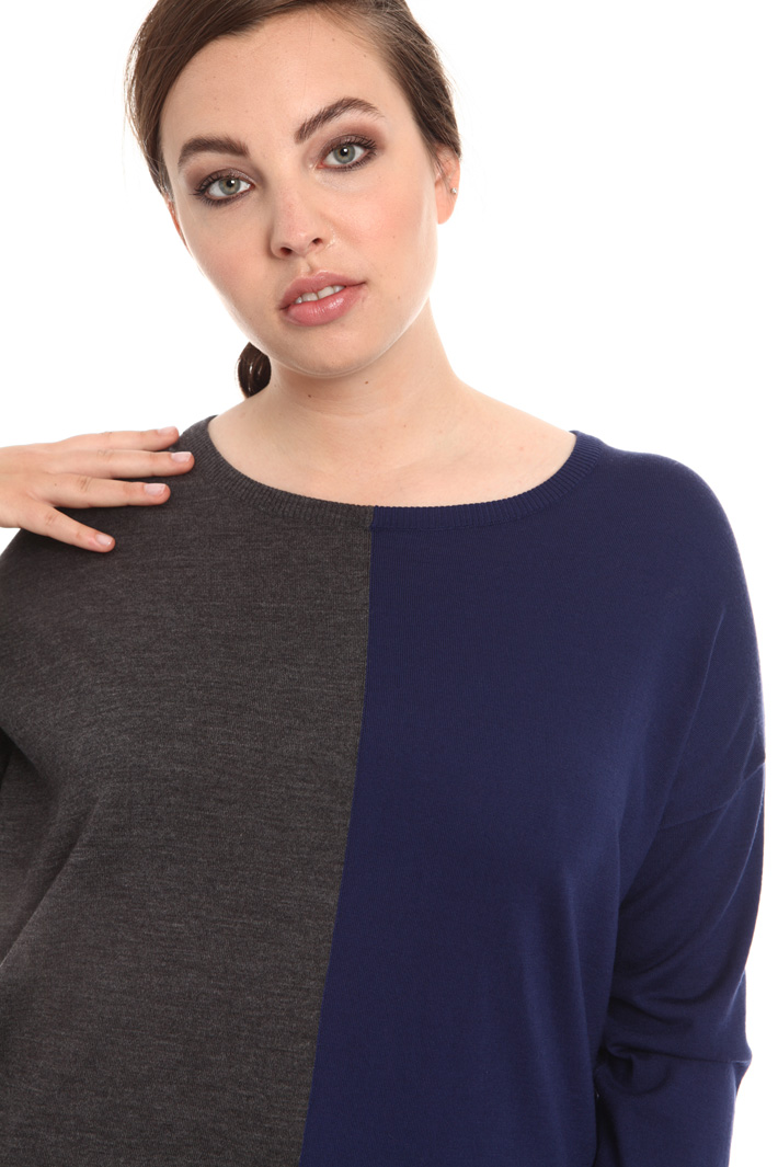 Two-tone pure wool sweater Intrend