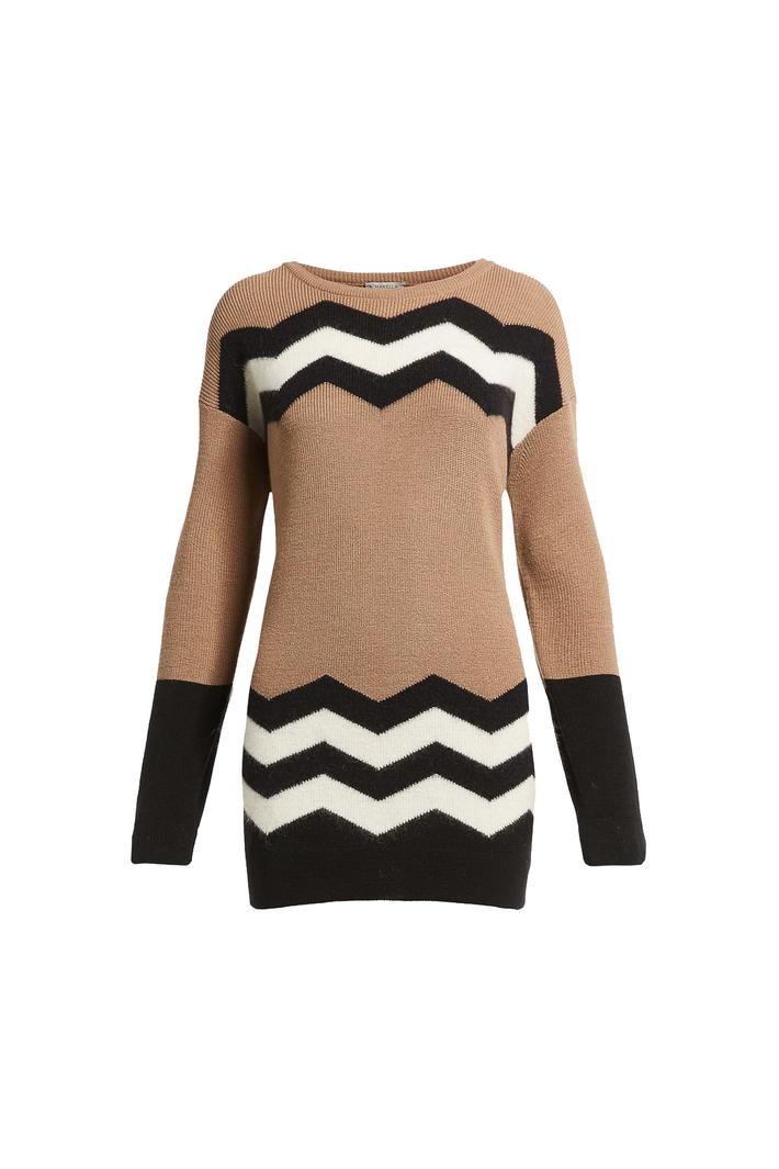 Contrast intarsia sweater Intrend
