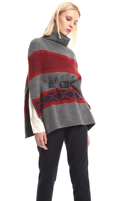 Wool jacquard poncho Intrend