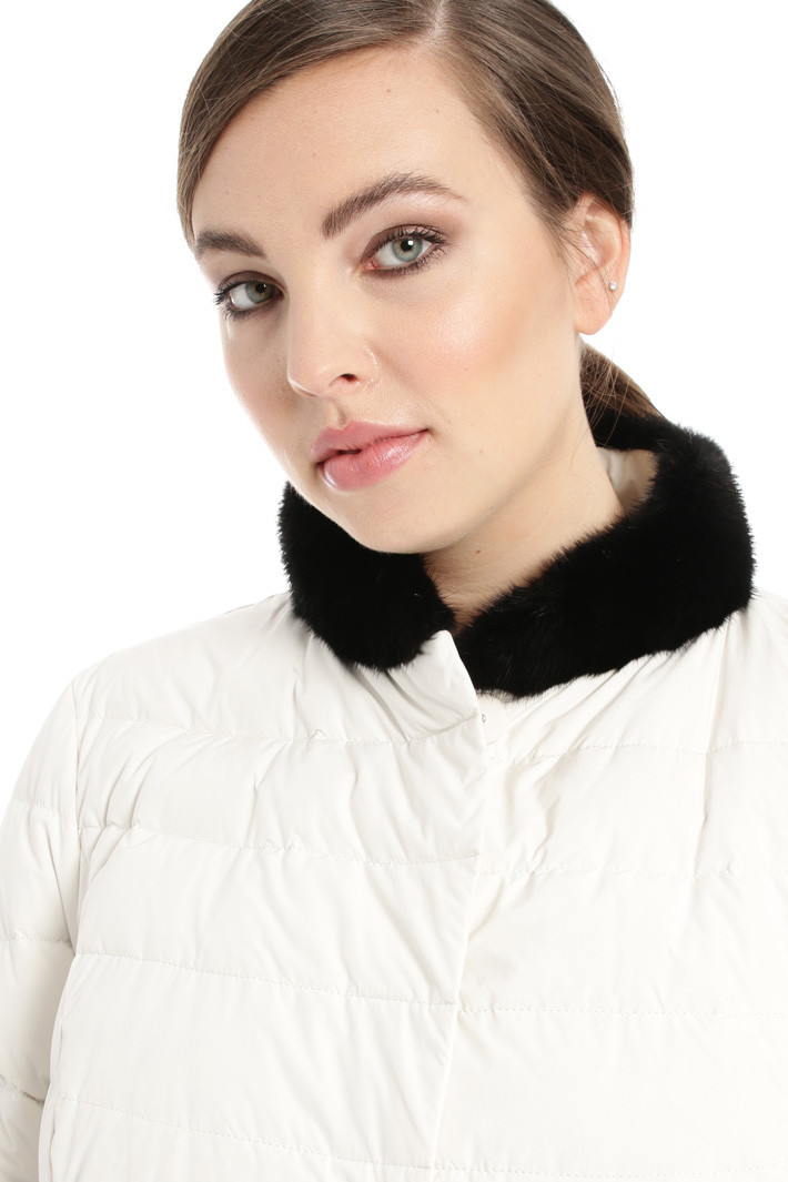 Down coat with mink details Intrend