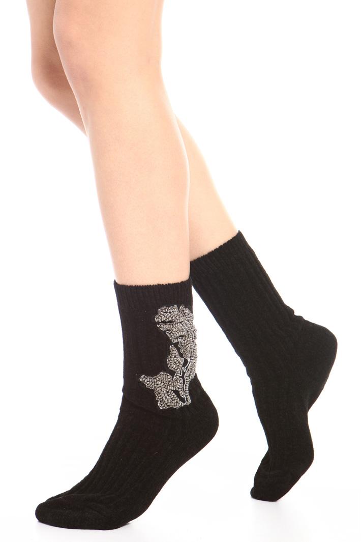 Velvet crew socks Intrend