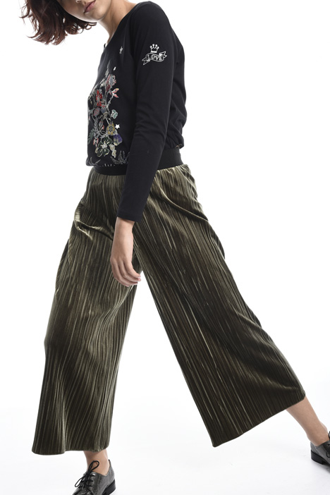 Pleated chenille trousers Intrend