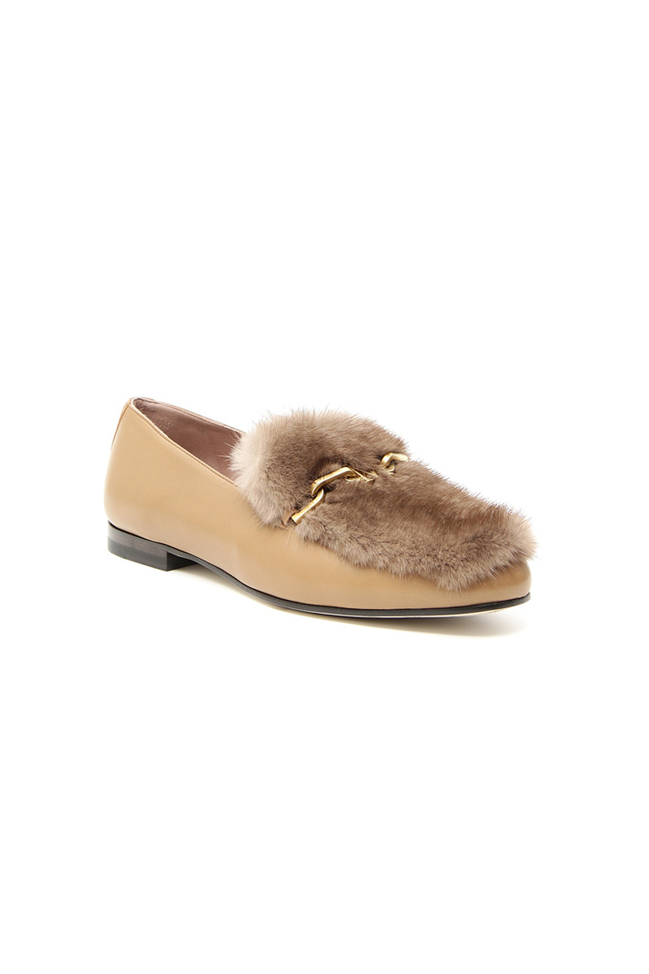 Leather and mink moccasin Intrend