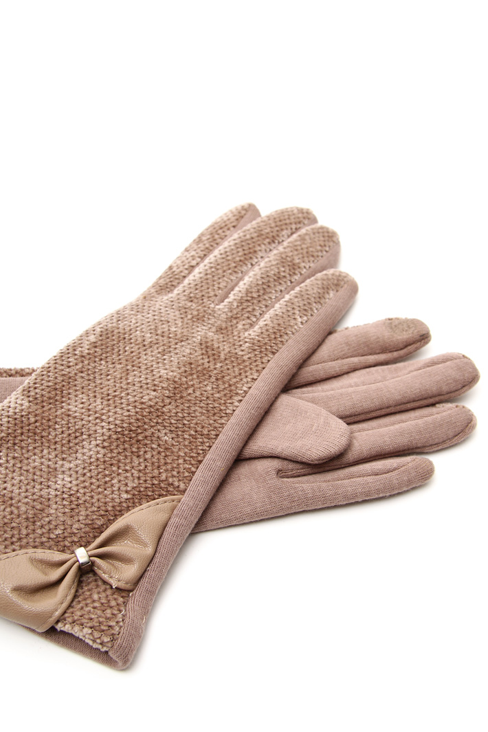 Gloves with faux leather insert Intrend