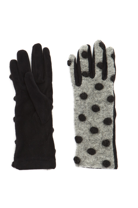 Polka-dot felted gloves Intrend