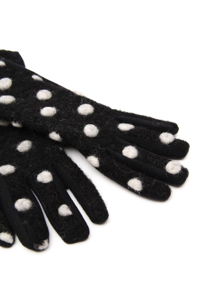 Polka-dot felted gloves Intrend