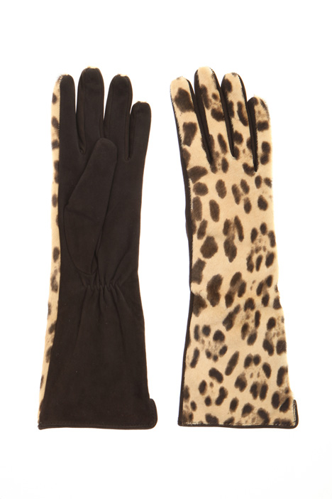 Calf hair and suede gloves Intrend