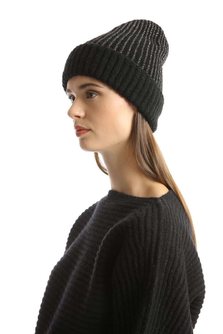 Ribbed lurex hat Intrend