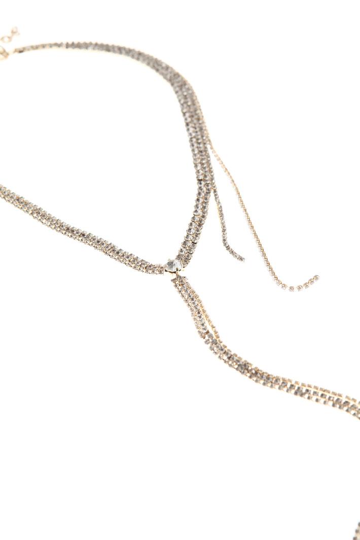 Rhinestone multi-row necklace Intrend