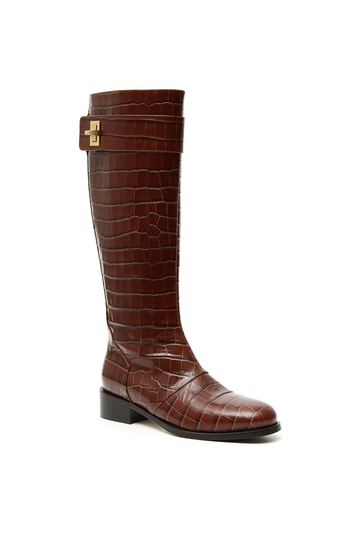 Crocodile print boots Intrend
