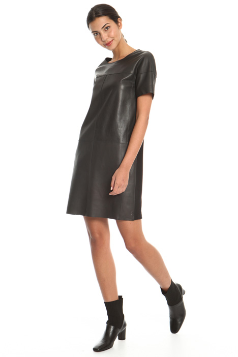 Leather and jersey mini dress Intrend
