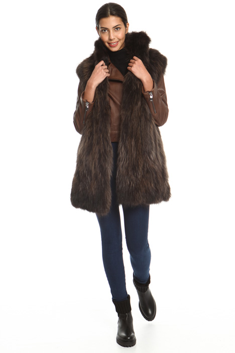 High neck fur vest Intrend
