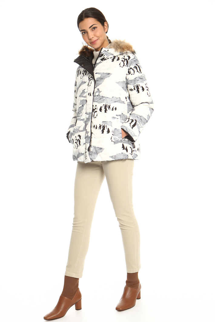 Printed canvas down jacket  Intrend