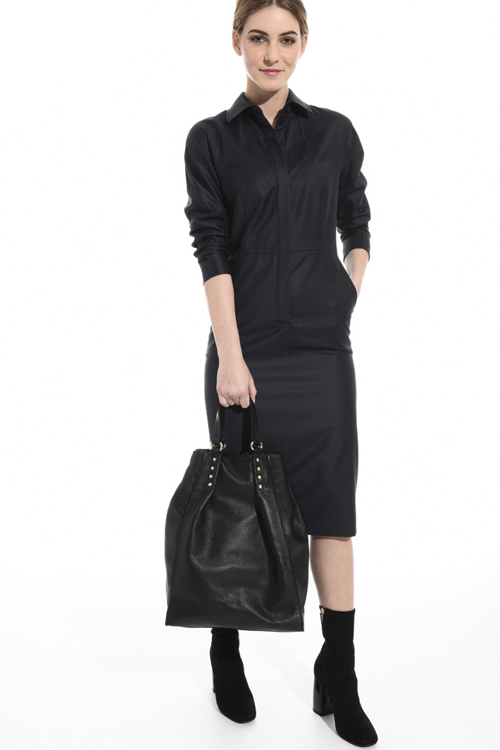 Maxi leather shopping bag Intrend
