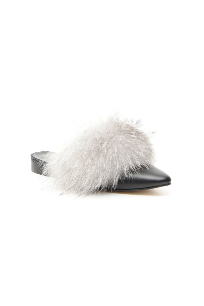 Fox fur sabot shoes Intrend