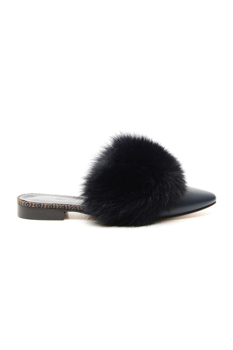 Fox fur sabot shoes Intrend