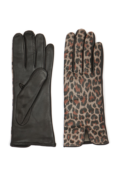 Printed leather gloves  Intrend