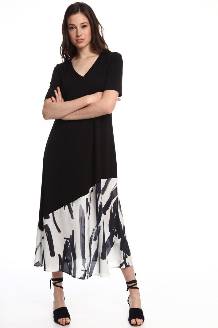 Mixed knit and cotton dress  Intrend