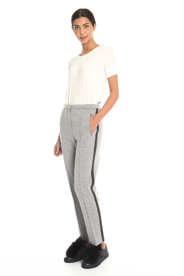 Wool and cotton blend trousers Intrend