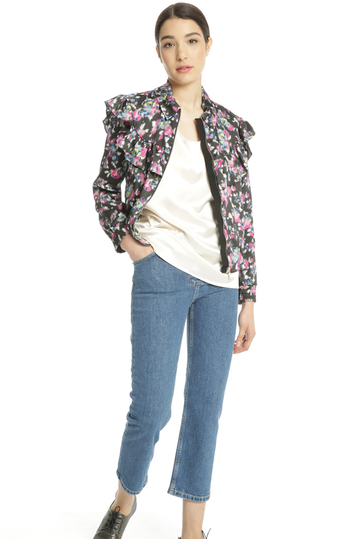Printed twill bomber jacket Intrend