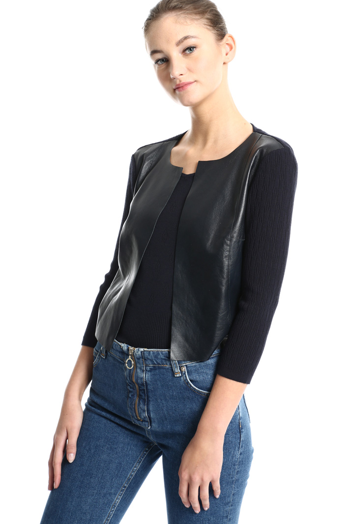 Knit and leather cardigan Intrend