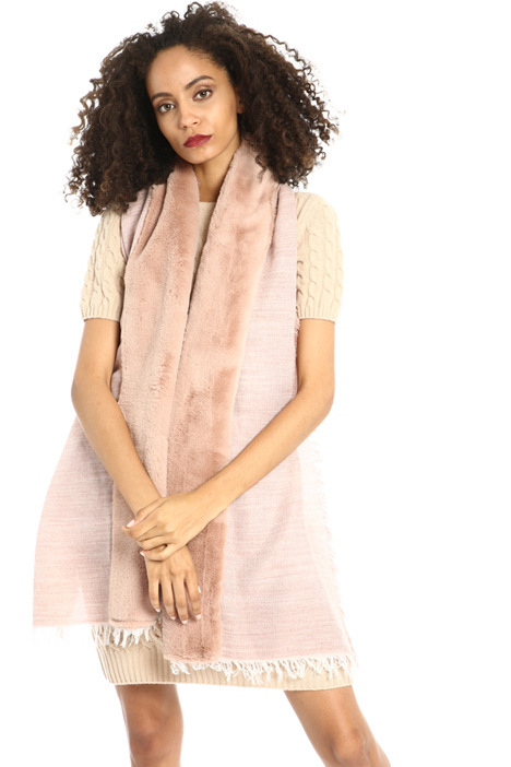 Scarf with fur insert Intrend
