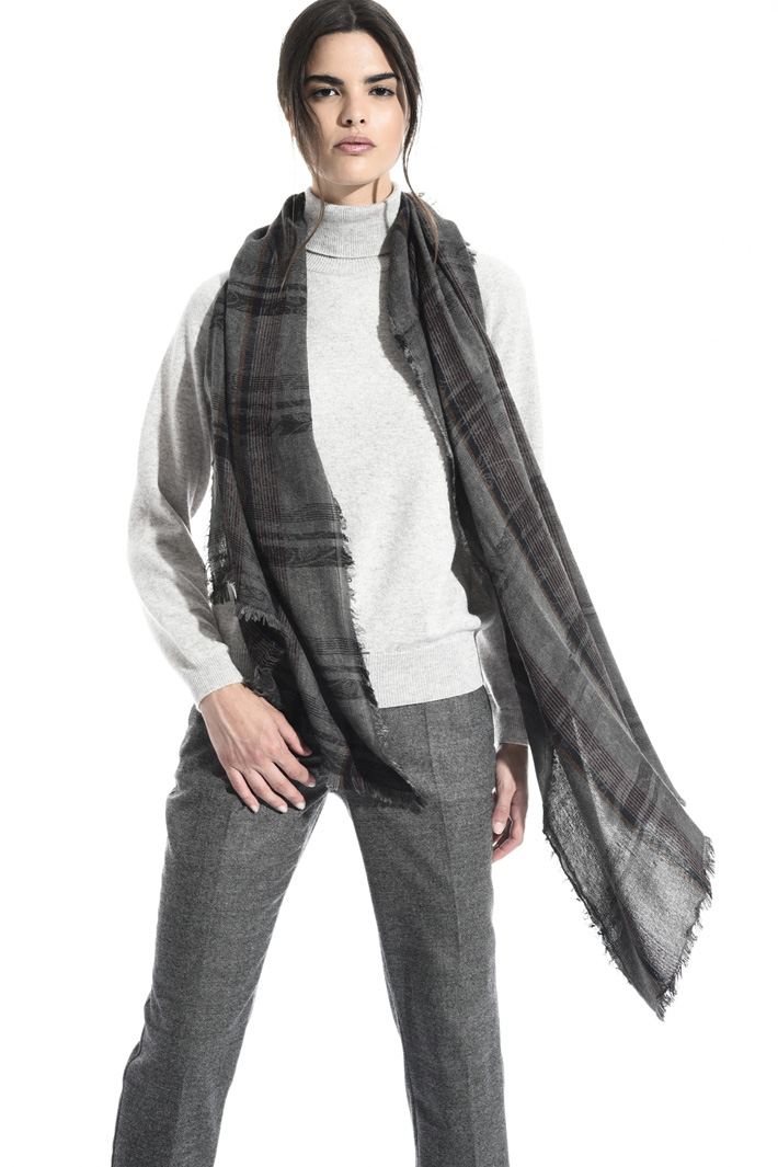 Checked wool blend scarf Intrend