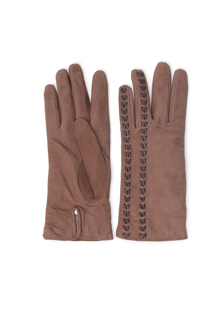 Suede gloves with inserts Intrend