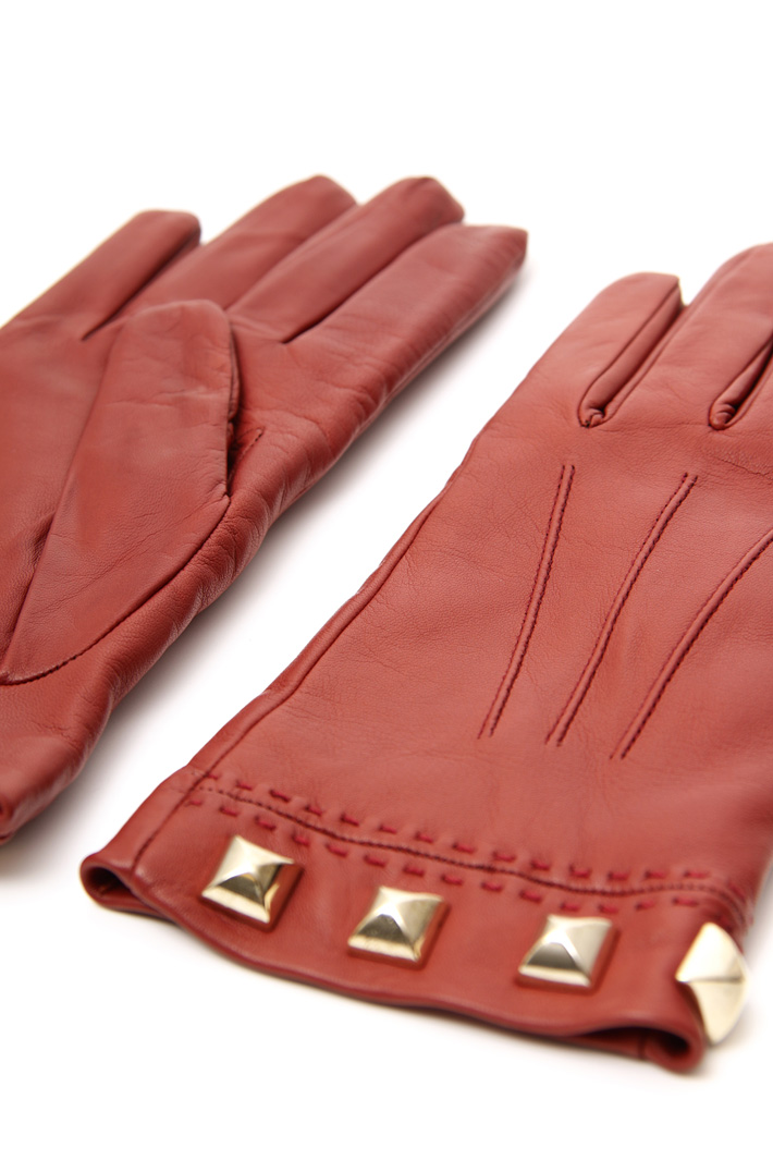 Studded leather gloves Intrend