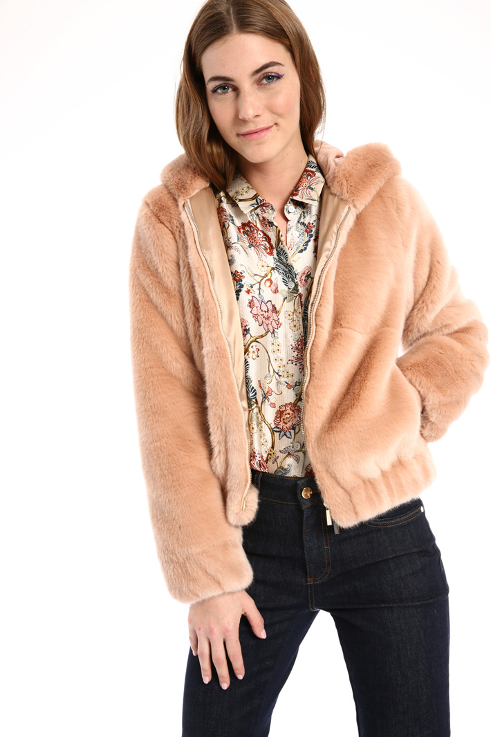 Fur-effect bomber jacket Intrend