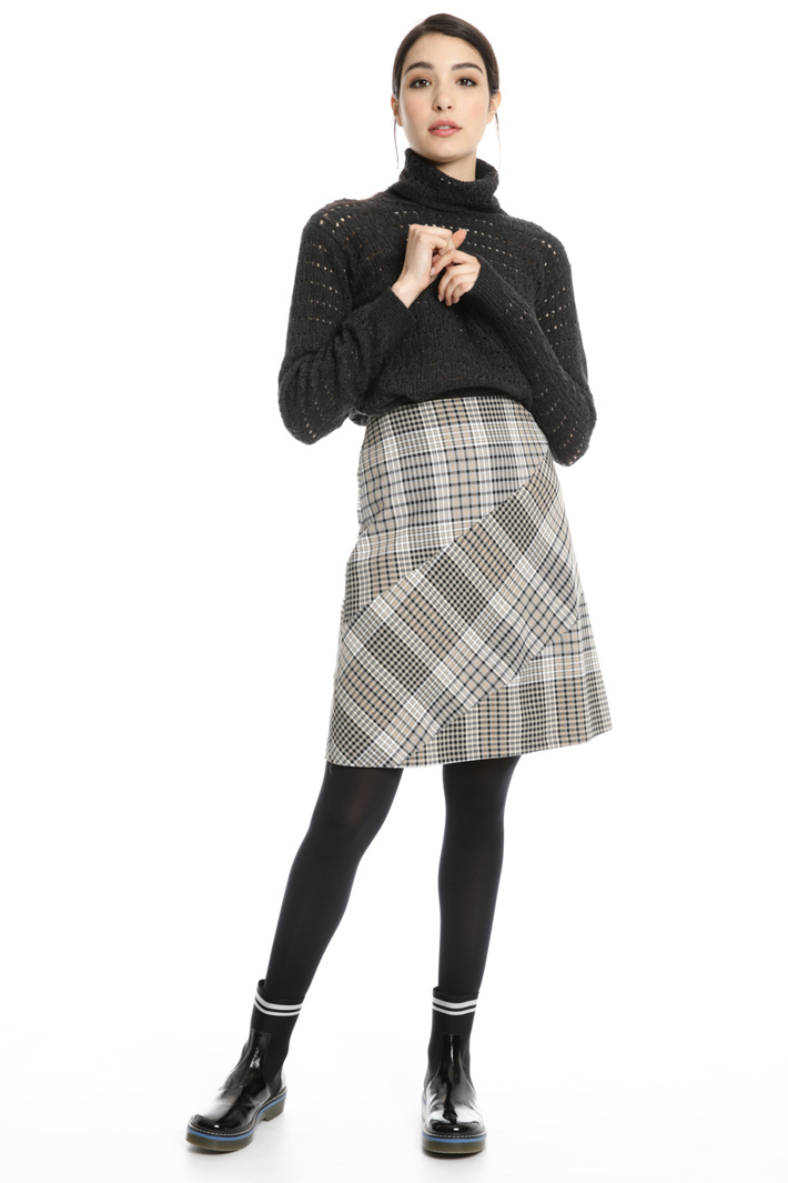 Flared check skirt Intrend