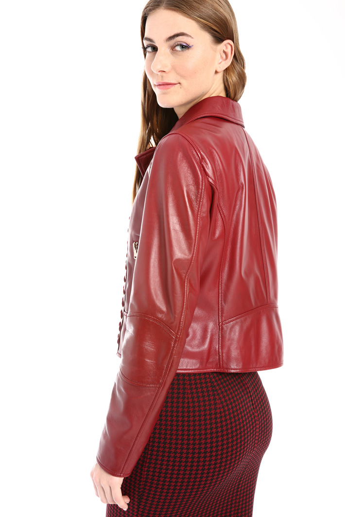 Tied leather jacket Intrend