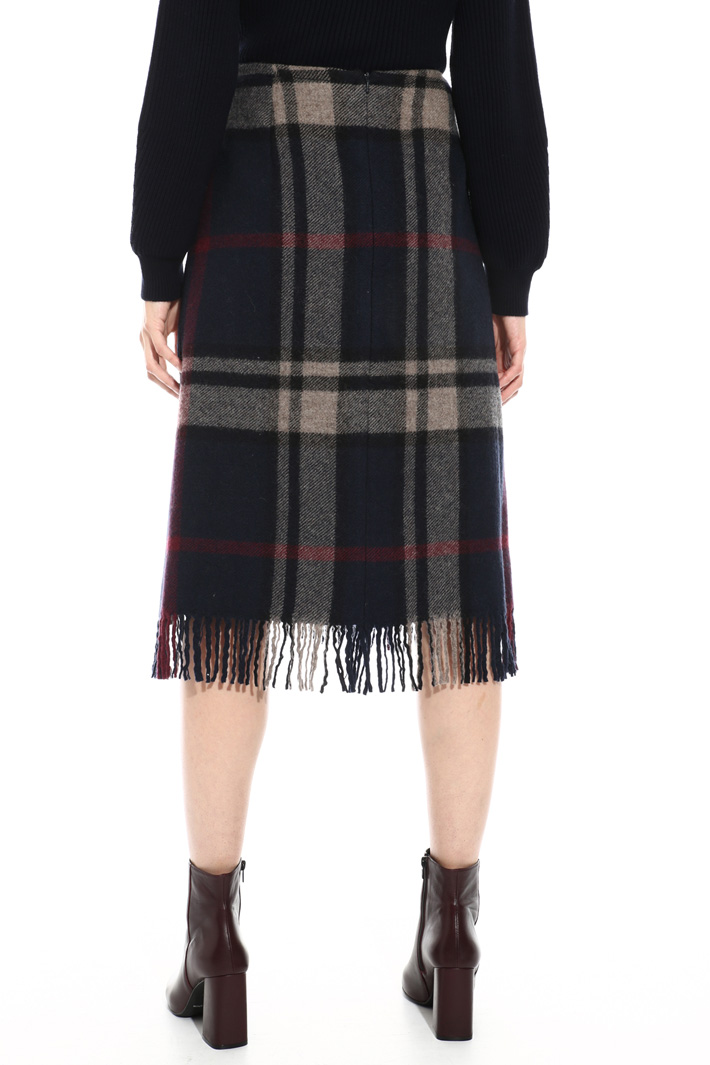Fringed pure wool skirt  Intrend