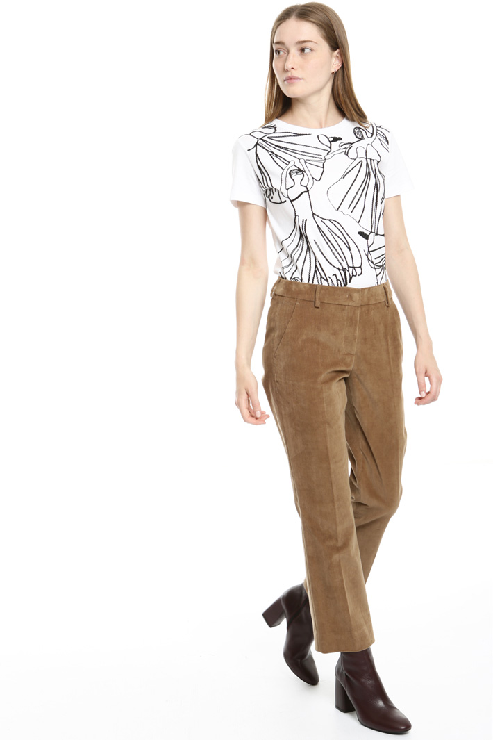 Velvet cropped trousers Intrend