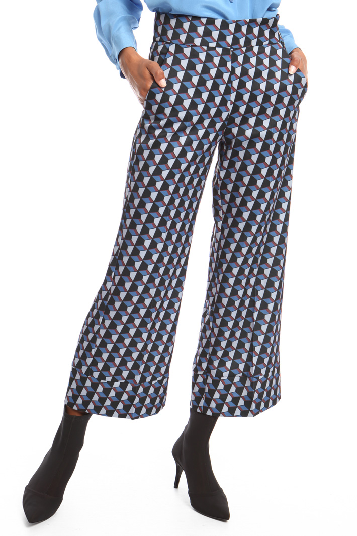 Patterned cropped trousers Intrend