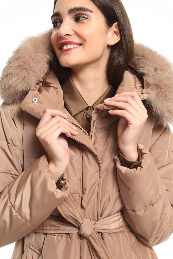 Fox fur trimmed coat Intrend